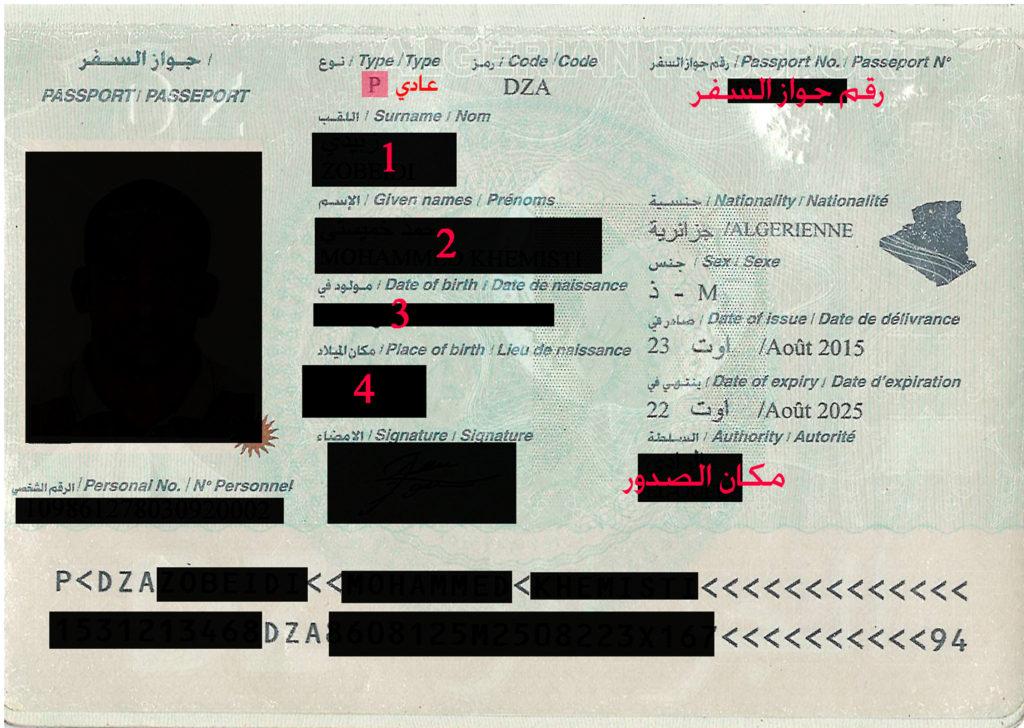 استمارة طلب فيزا تركيا جواز السفر